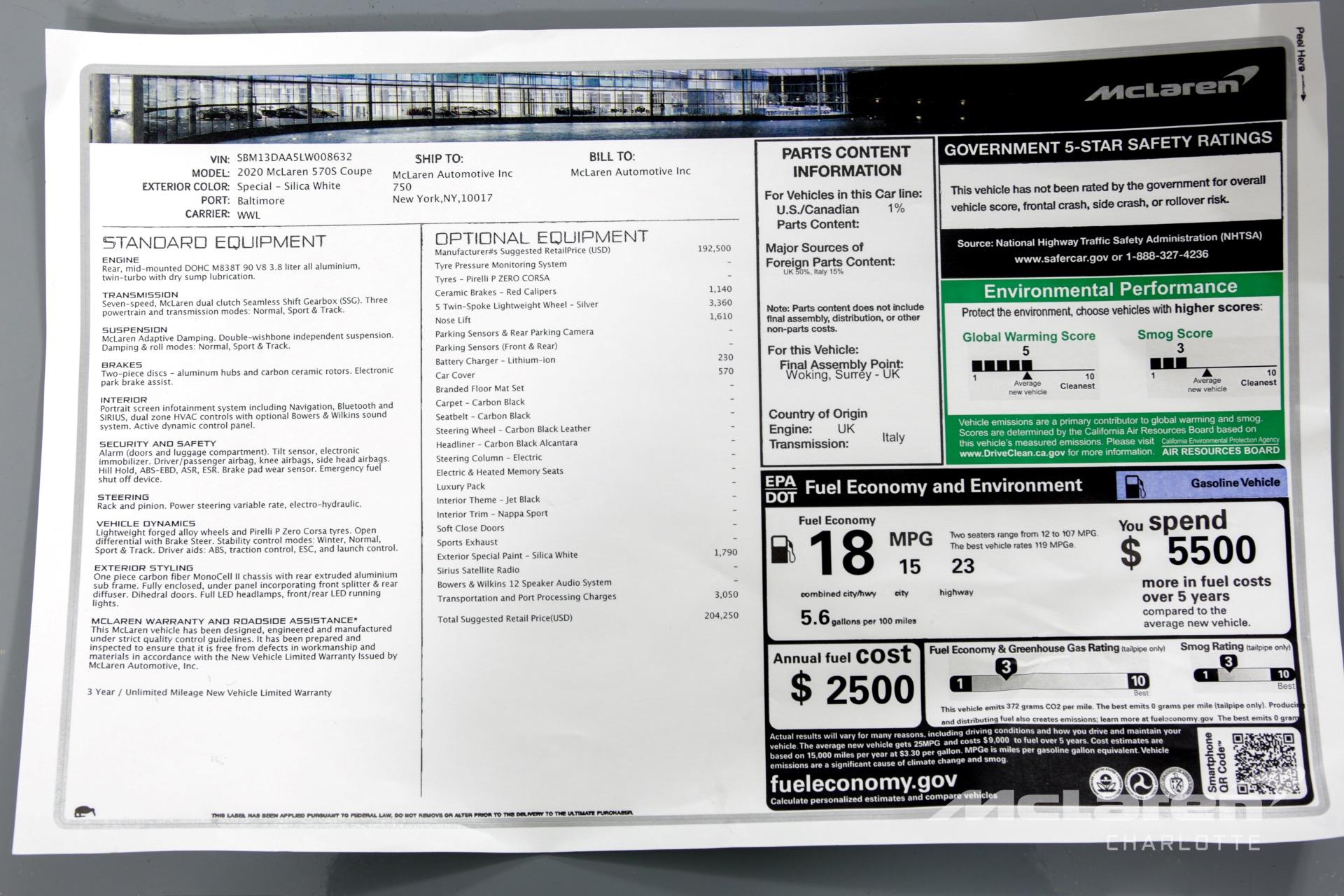 New 2020 MCLAREN 570S  | Charlotte, NC